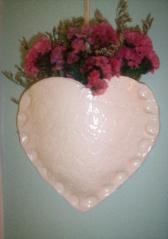 Wall decoration - white yeart with pink flowers